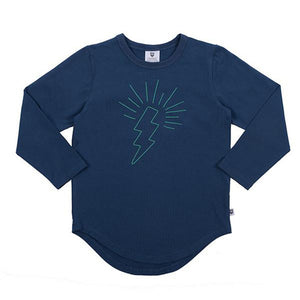 Hoot Kid Thunder Shake Tee in Washed Navy