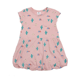 Hoot Kid Up & Away Dress in Dusty Pink Desert Slub