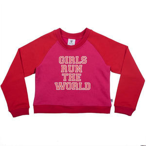 Hoot Kid Girls Run The World Sweat in Red