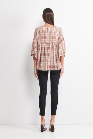Imonni Melbourne - Elinor Check Top - Deep Blush White