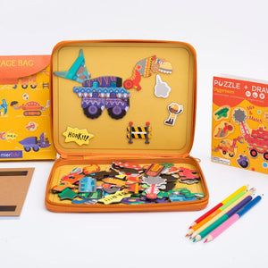 mierEdu - Puzzle & Draw Magnetic Kit - Diggersaurs