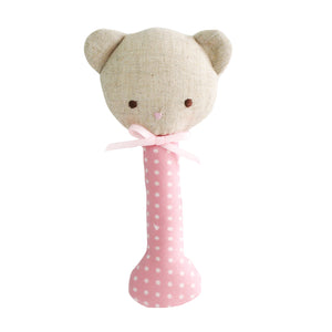 Alimrose Baby Bear Stick Rattle in Pink with White Spot