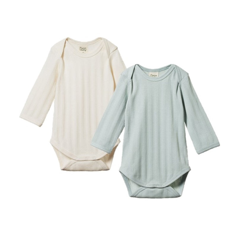 Nature Baby - 2 Pack Derby Long Sleeve Bodysuit - Natural/Sea