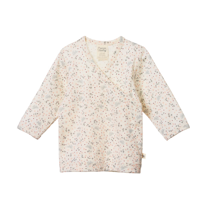 Nature Baby Merino Kimono Body Top in Sweet Pea Print
