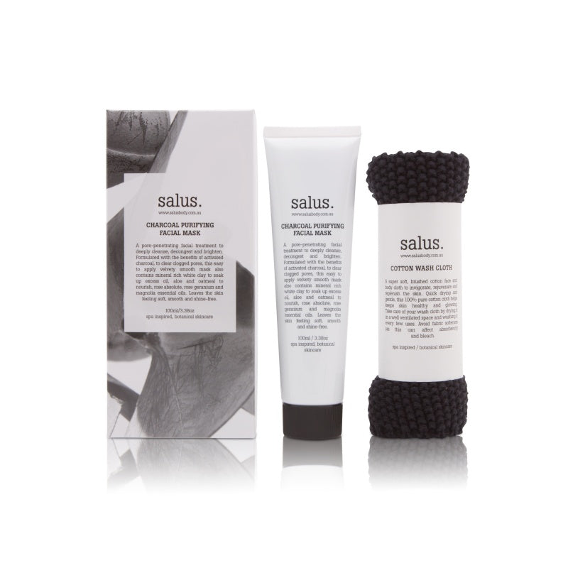 Salus Body Charcoal Purifying Facial Mask Set - face mask and wash cloth