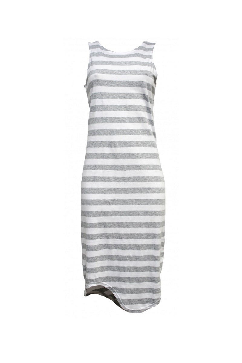 Silent Theory - One in Eight Stripe Midi Dress - Grey/White Stripe