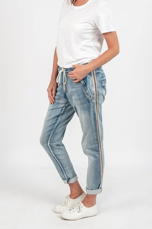 Italian Star - Denim Jogger with Gold Trim