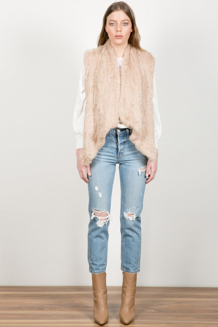 Wish Muse Fur Vest in Light Camel