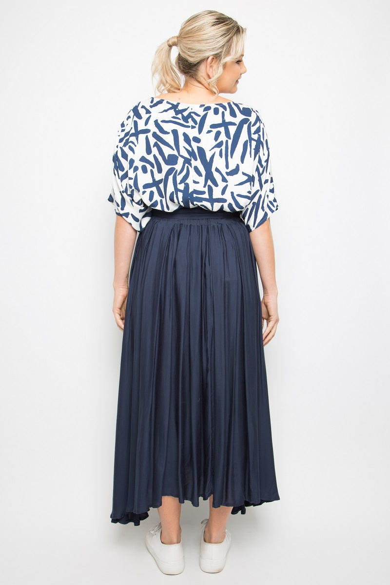 PQ Collection - Twirl Tie Skirt - Navy