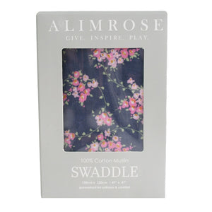Alimrose - Muslin Swaddle - Wildflower Navy