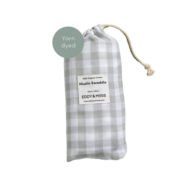 Eddy & Moss - Swaddle Wrap - Gingham Fog
