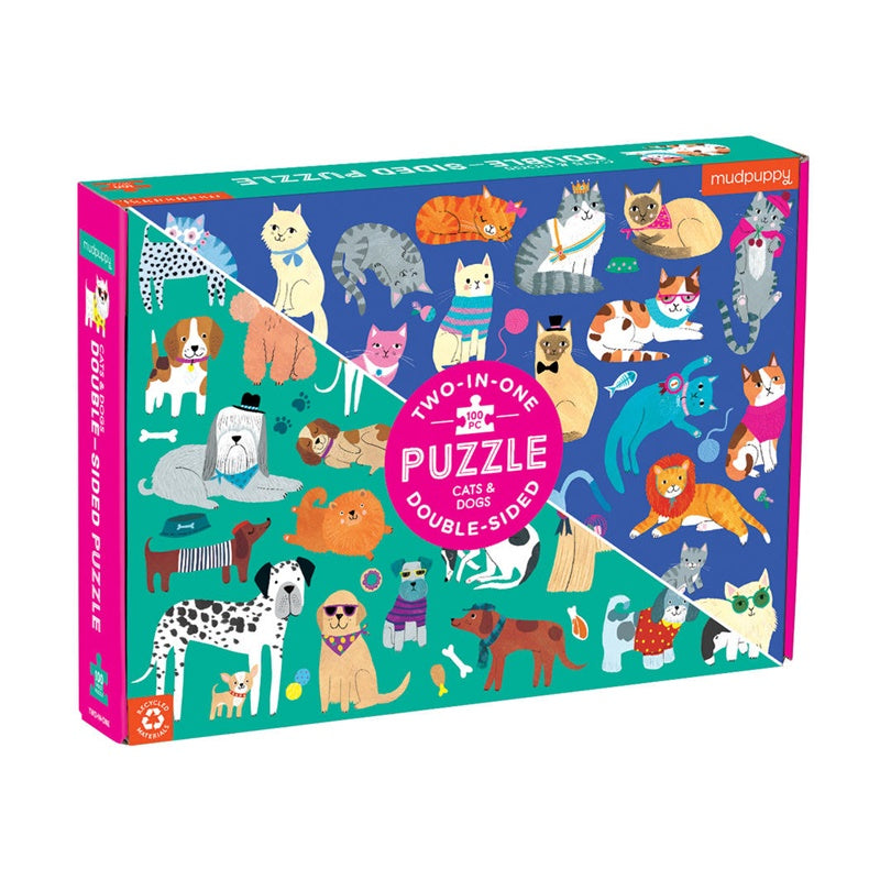 Mudpuppy - Cats & Dogs 100pc Double-Sided Puzzle