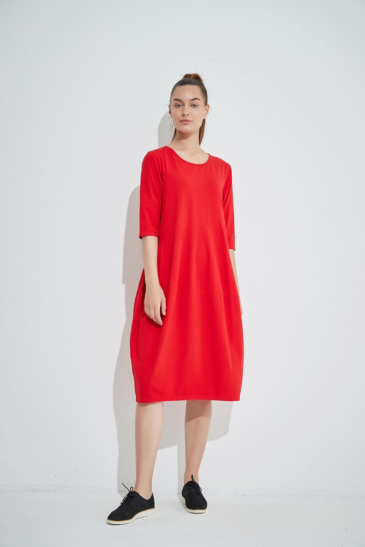 Tirelli - 3/4 Sleeve Diagonal Seam Dress - Red