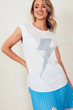 The Others - Muscle Tank - White with Blue Bolt