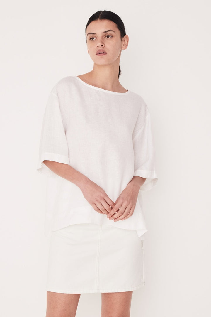 Assembly Label - Boxy Linen Top - White