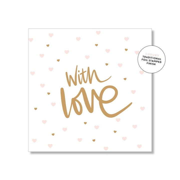 Just Smitten Mini Gift Card - With Love with Pink Hearts