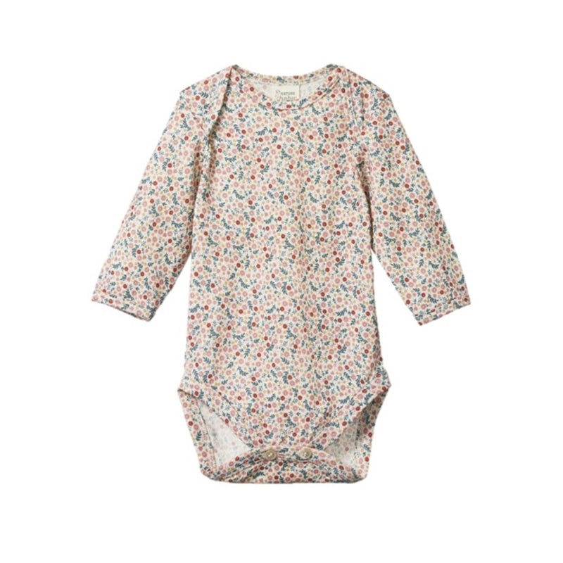 Nature Baby - Long Sleeve Merino Bodysuit - June's Garden Print