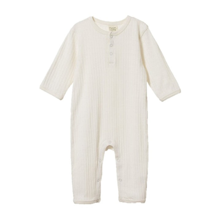 Nature Baby - Pointelle Henley Pyjama Suit - Natural
