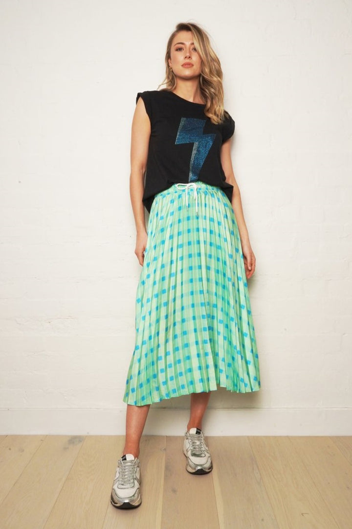 The Others - The Gingham Pleat Skirt - Lime Gingham