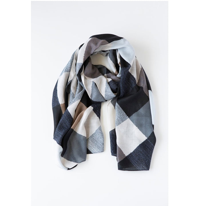 Antler - Squares Scarf - Grey, Black & Blue