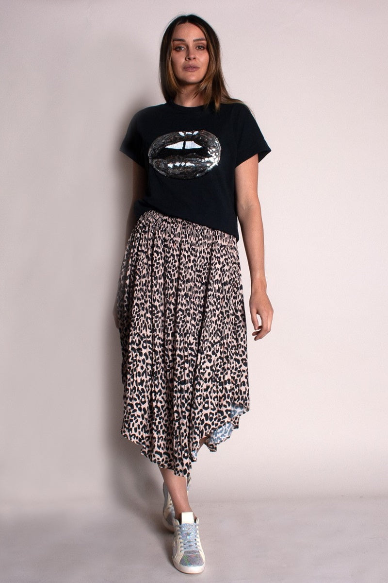 The Others - Pleated Elastic Waist Skirt - Leopard