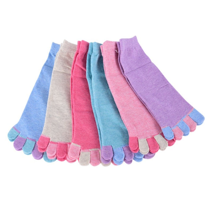1Pair Women Five Finger Toe Socks Pilates Calcetines Mujer Chausettes 6 Colors