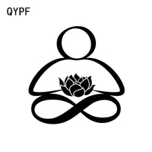 Load image into Gallery viewer, QYPF 11.1*11.3 Cartoon Lovely Meditation Yoga Vinyl Decor