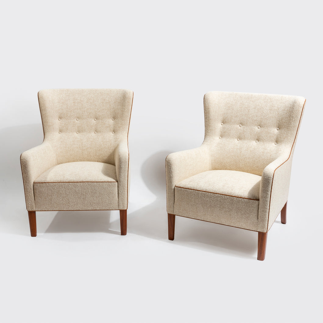 Ole Wanscher Pair of Large Easy Chairs