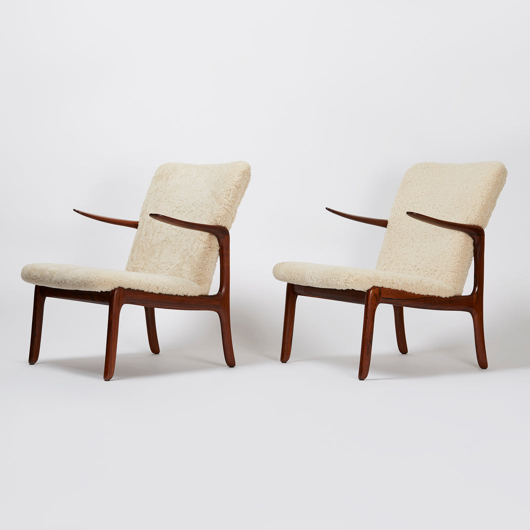 Ole Wanscher Pair of Shearling Armchairs