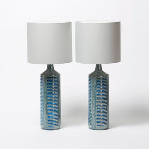 Palshus Pair of Blue Ceramic Lamps