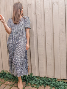 Gaia Tiered Midi Dress - Gingham