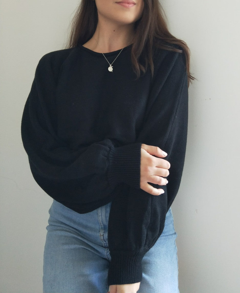Celeste Crop Knit Jumper - Black