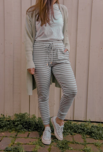 Hali Joggers - Grey/White Stripe