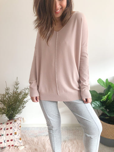 Indra V Neck Knit - Dust Pink