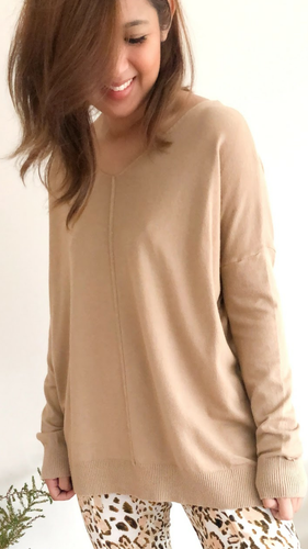 Indra V Neck Knit - Latte