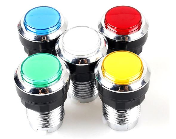 2 player Classic Arcade Kit  USB Encoder to Joystick PC Games + Chrome  Plating LED Illuminated Push Buttons