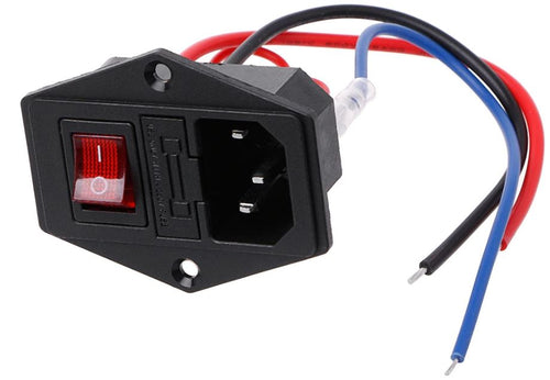3D Printer U-type Plug Power Supply Switch Adapter including wires and fuse.