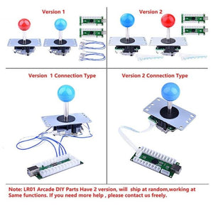 2 Player LED Arcade DIY Parts 2 x Zero Delay USB Encoder + 2 x 8 Way Joystick , 20 x LED Push Buttons