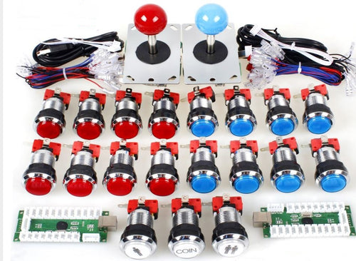 2 player Classic Arcade Kit. USB Encoder to Joystick PC Games + Chrome Plating LED Illuminated Push Buttons