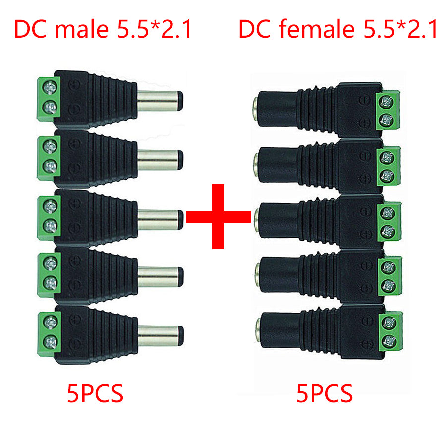 2,1 x 5,5mm Zinc Alloy DC Power Female To Female Jack Connector Adapter