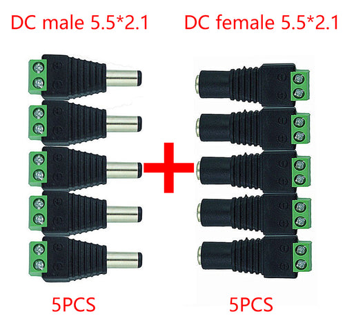 5pcs + 5 pcs  Female and Male DC Power Plug Adapters  ( 5.5mm x 2.1mm )