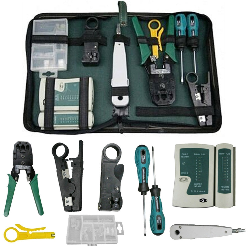 VONETS 9Pcs Network Cable Tester Tool Bag LAN Utp Screwdriver Wire Stripper RJ45 Connector Computer Maintenance Tool Kit Set