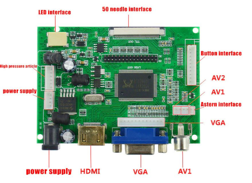 9 inch 800*480 LCD screen Monitor Driver Board HDMI VGA 2AV for Raspberry Pi 3