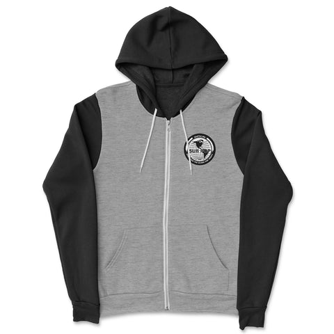 Globe Patch Zip Grey w/ Black Hoodie Sweatshirt