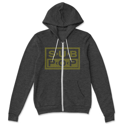 Logo Heather Black w/ Yellow Zip Hoodie Sweatshirt