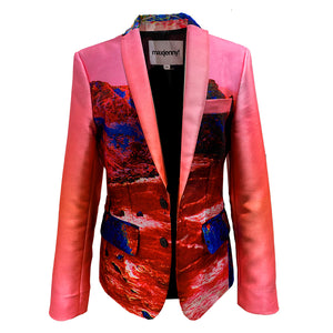 Women's size Blazer Red & Blue Landscape