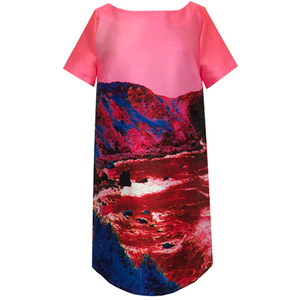 Red & Blue Landscape, Straight Dress