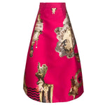 Sicily Hot Pink, Medium Length Skirt 80 cm