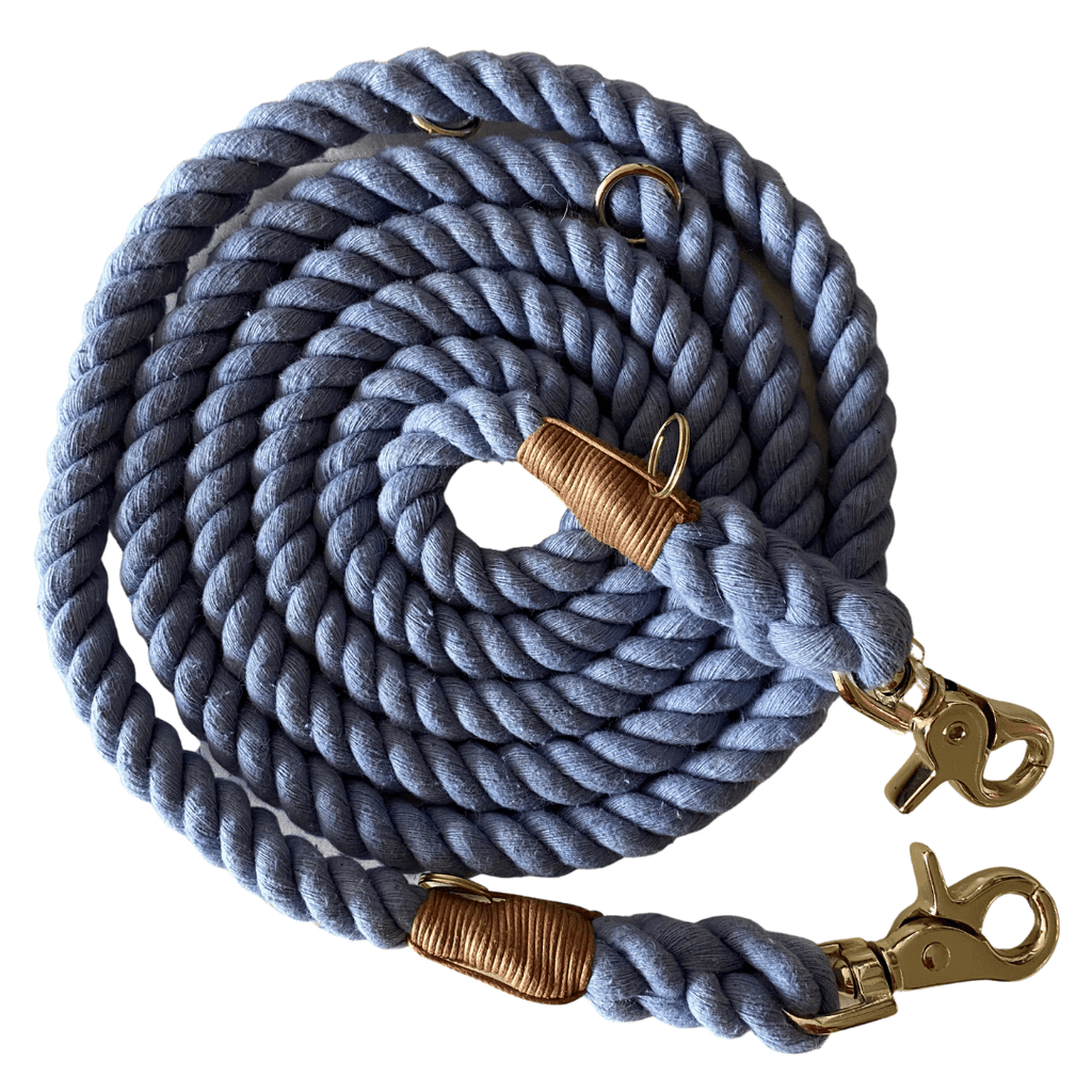 Adjustable Rope Dog Leash Dreamy Blue | Twisted 2.0 - SnuggleDogz