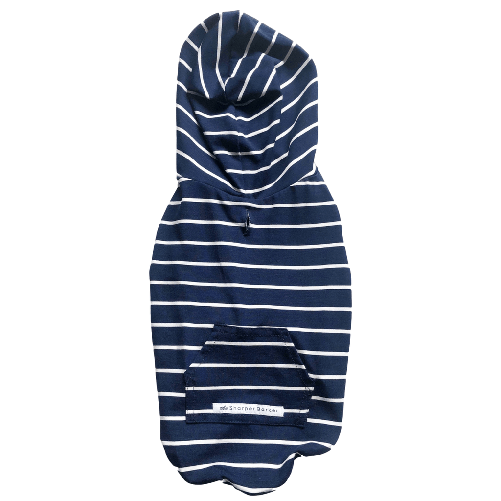 Bamboo Dog Hoodie | Blue/White Stripe - SnuggleDogz